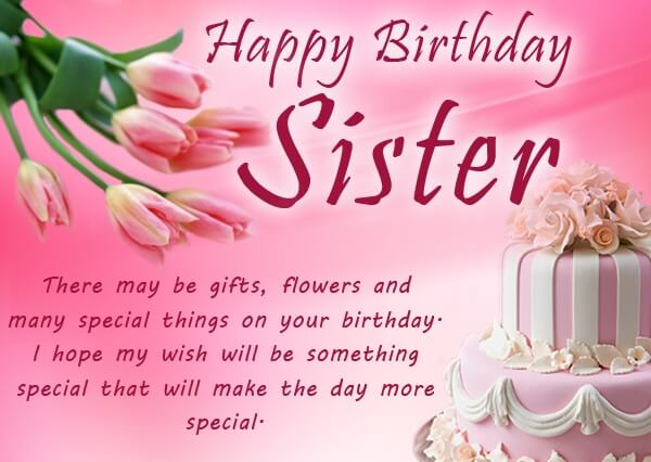 Happy birthday sister wishes messages cake images quotes the happy birthday sister wishes quotes messages m4hsunfo