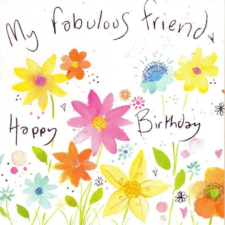 Happy birthday friend wishes quotes cake images messages the happy birthday greeting card for friend handmade flower image m4hsunfo