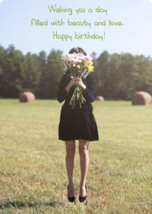 happy birthday girlfriend flowers, bokeh wishes image