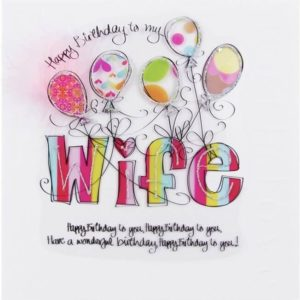 happy birthday greeting card for wife balloon