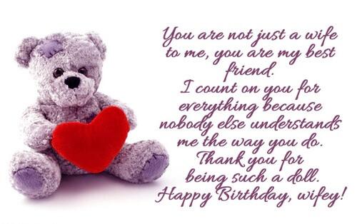 Happy Birthday Wife Teddy Image, Love Quotes