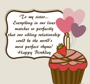 Happy Birthday  Sister quote image with cake