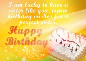 Happy Birthday cake image for sister with prayer