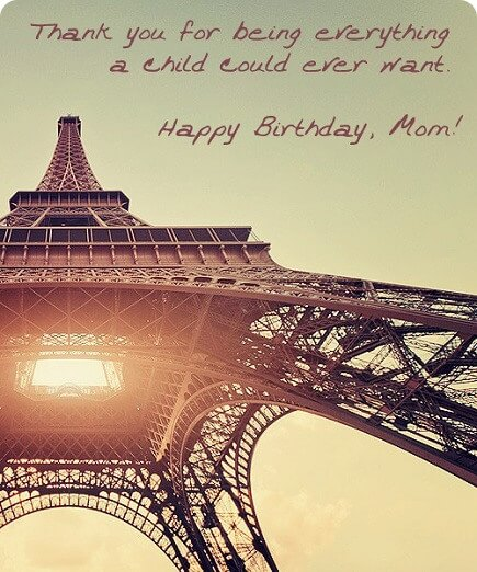 Happy Birthday Wish Mom Eiffel Tower