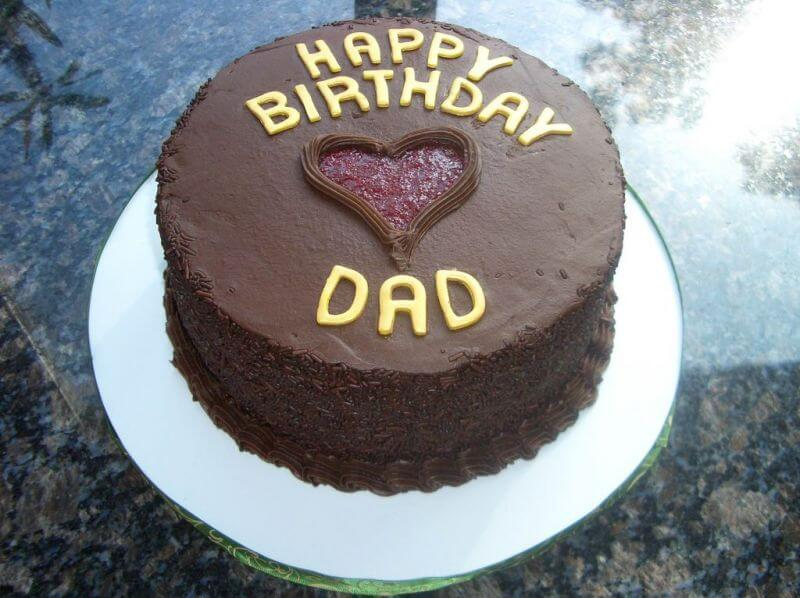 Happy Birthday Dad Chocolate Cake with Heart