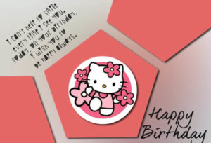 happy birthday cute greeting card for daughter kitty