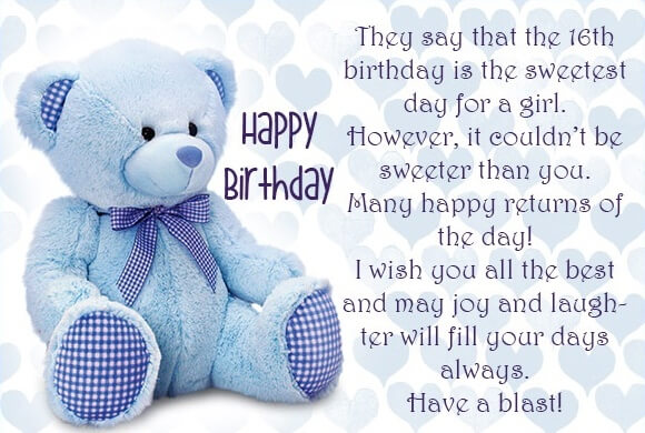 Happy Birthday Teddy Wishes for Daughter