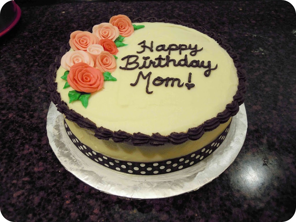 Happy Birthday Cake with Flowers for Mom