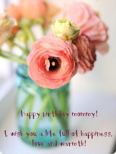 Happy Birthday Mom Pink Flower