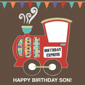 happy birthday son birthday train greeting card