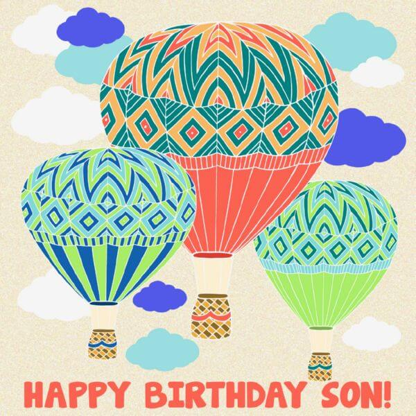 Happy Birthday Son Hot Air Balloon