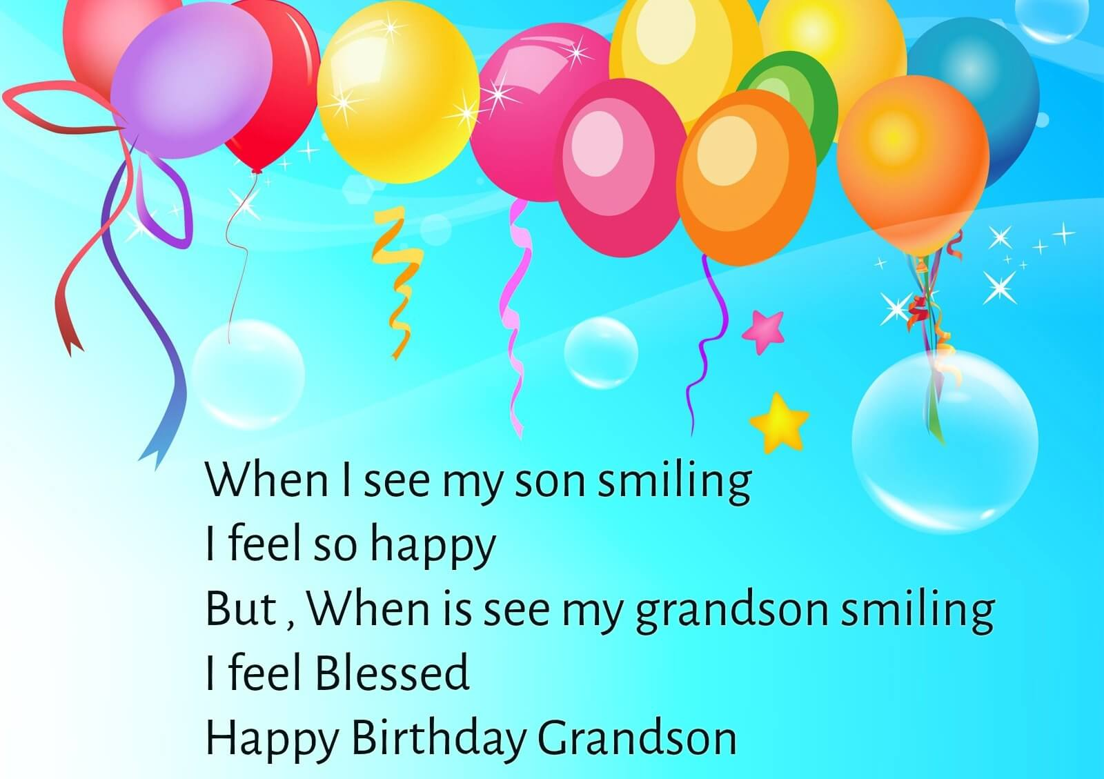 Happy Birthday Balloon Wishes for Grandson