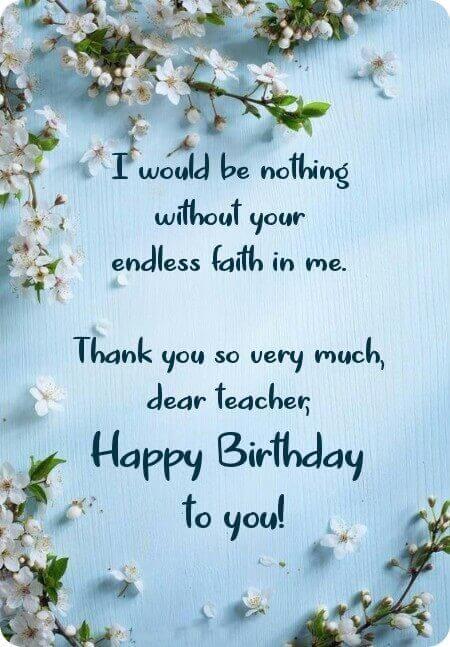 Happy Birthday Flower Wishes for Teacher