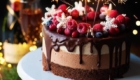 Happy Birthday Wishes on Chocolate & Cherry Cake