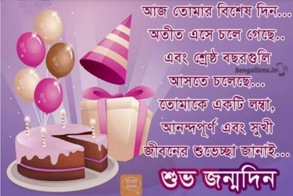 Happy Birthday Wishes in Bengali Balloons