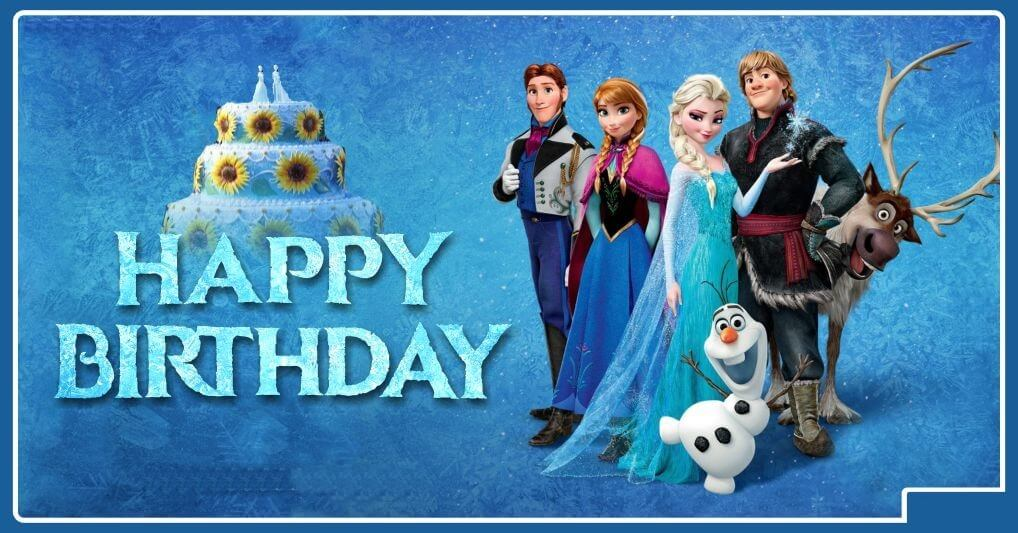 Frozen Happy Birthday Wishes Cake Characters
