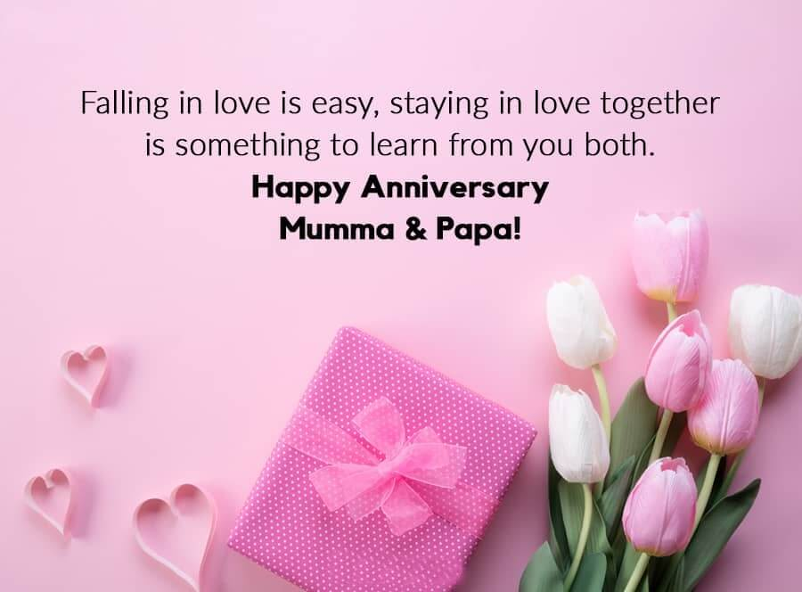 Happy Anniversary Wishes For Mom & Dad Pink Rose