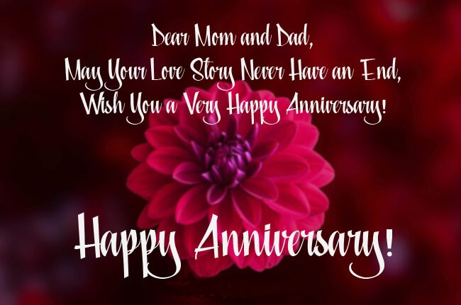 Happy Anniversary Wishes For Mom & Dad Red Rose