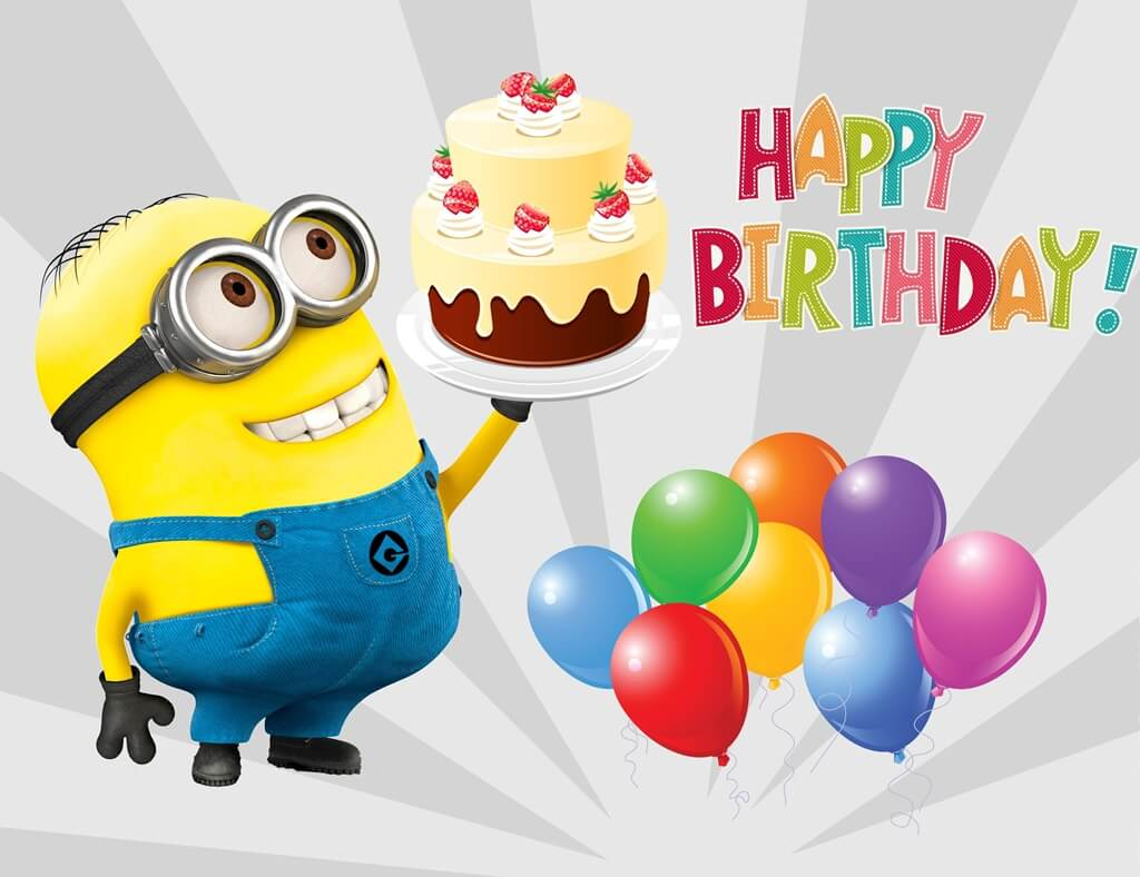 Minions Happy Birthday Wishes Cake