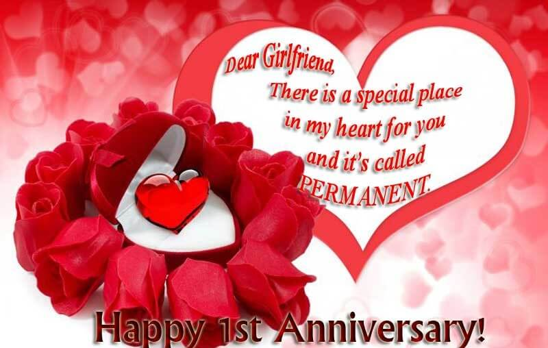 Happy Anniversary Wishes for Girlfriend Heart