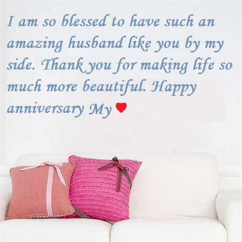 Happy Anniversary Wishes for Husband Pillow