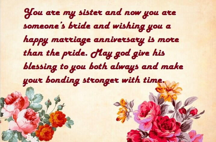 Happy Anniversary Wishes for Sister & Jiju Flowers