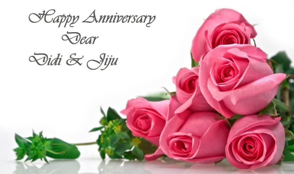 Happy Anniversary Wishes for Sister & Jiju Pink Roses