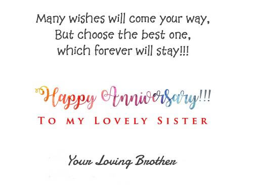 Happy Anniversary Wishes for Sister & Jiju Status