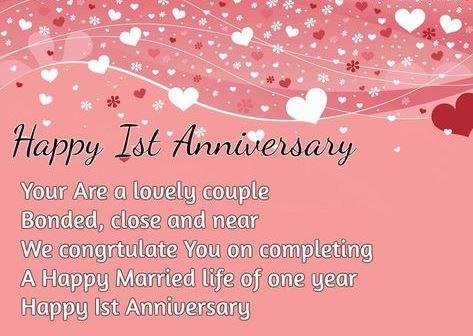 Happy 1st Anniversary Wishes Heart