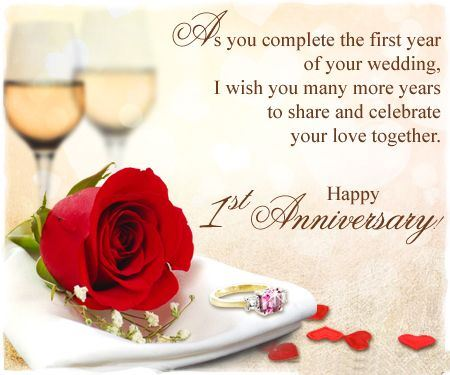 Happy 1st Anniversary Wishes Red Rose