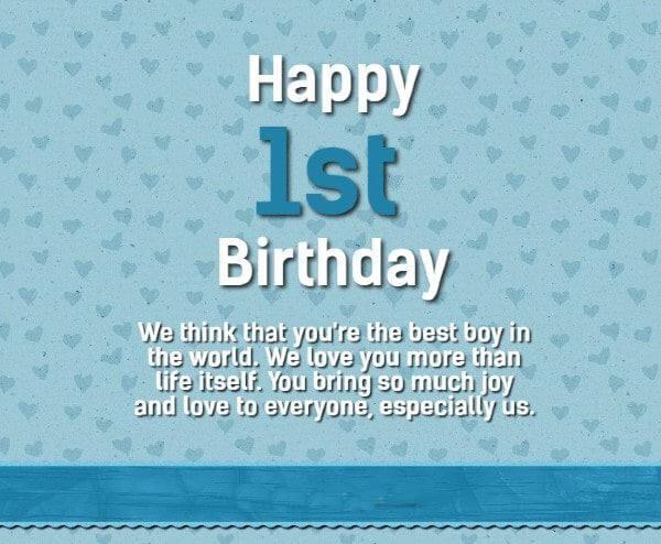Happy 1st Birthday Boy Wishes Baby Boy