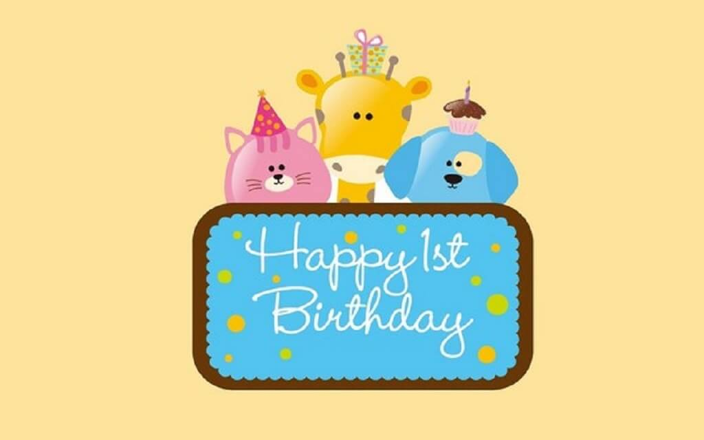 Happy 1st Birthday Boy Wishes Cartoons