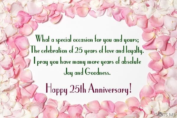 Happy 25th Anniversary Wishes Status