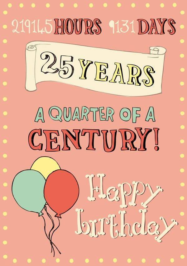 Happy 25th Birthday Wishes Greetings