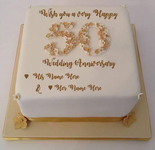 Happy 50th Anniversary Wishes Cake