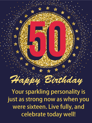 Happy 50th Birthday Wishes Greeting Card