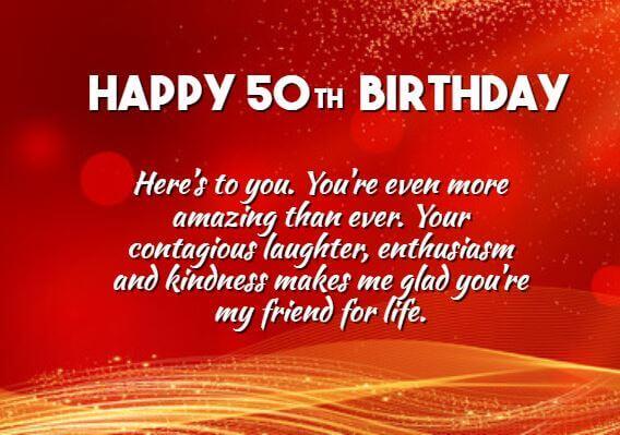 Happy 50th Birthday Wishes Status